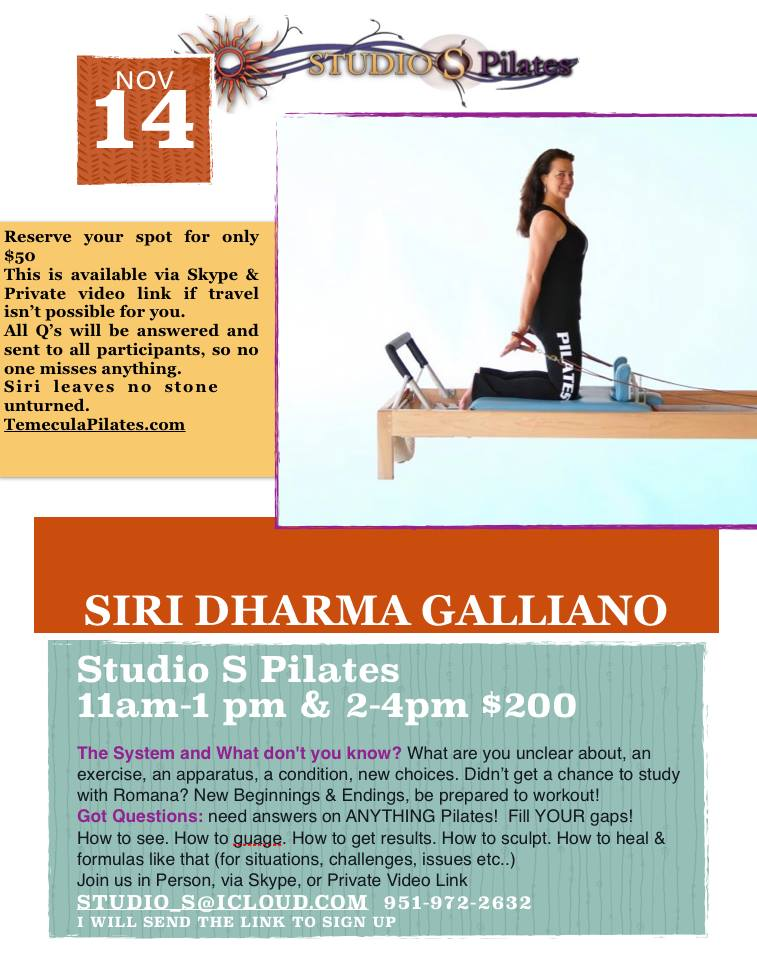 upcoming workshop at Studio S Pilates