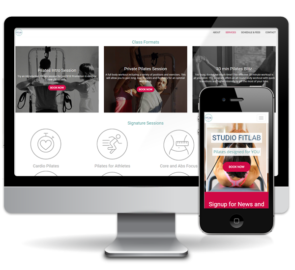 pilates studio website design