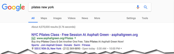 ad results on Google