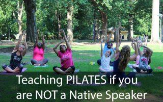 women doing pilates outside in the park