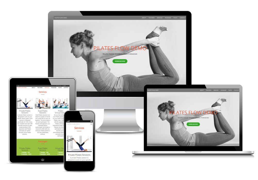 responsive design for pilates website